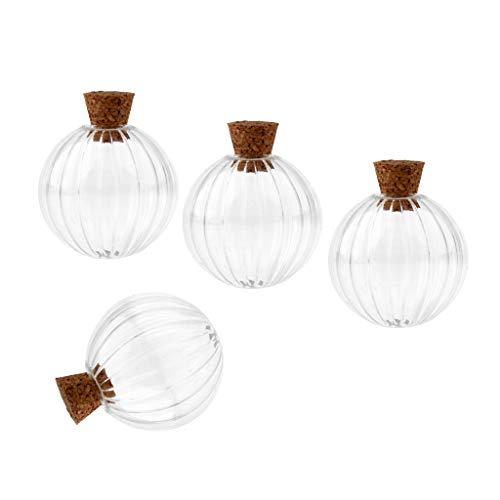 (Baoblaze 6 Stücke Mini Kürbis Mini Flaschen Glasflasche Wishing Glasfläschchen Anhänger mit Korken - 30mm)