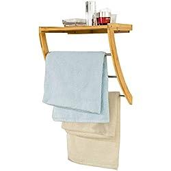 SoBuy- Estanterías de baño de bambù, Estantes de Pared, Armario suspendido,FRG47-N(L38*P24.5*A40.5cm),ES