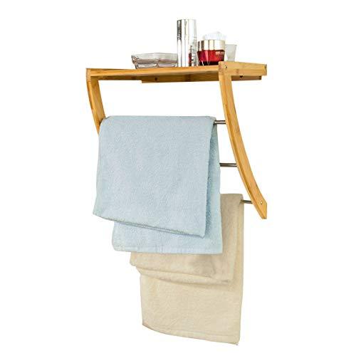 SoBuy FRG47-N Wandregal Handtuchregal Handtuchhalter aus Bambus zur Wandmontage, mit 3 Stangen aus Metall