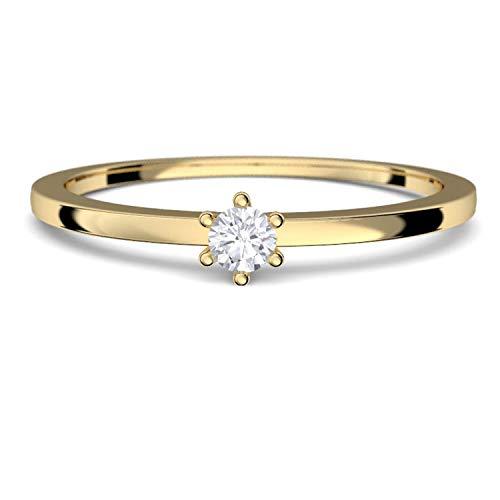 Goldring Damen 585 Verlobungsringe Gold Diamant 0 05 Carat H Si