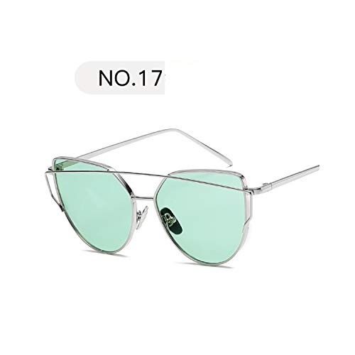 Sportbrillen, Angeln Golfbrille,New Fashion Cat Eye Sunglasses Women Luxury Brand Design Mirror Lens Vintage Sun Glasses Rose Gold Metal UV400 Oculos C17