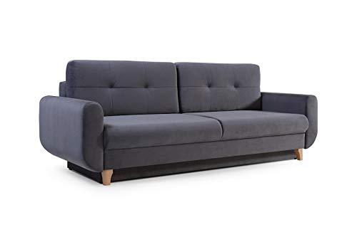 mb-moebel Modernes Sofa Schlafsofa Kippsofa mit Schlaffunktion Klappsofa Bettfunktion mit Bettkasten Couchgarnitur Couch Sofagarnitur 3er Saphir (Grau)