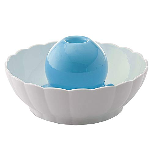 Keramik Trinkbrunnen für Katzen und Hunde Automatisch Leise Haustier Wasserbrunnen Wasserspender mit Aktivkohlefilter 2.1L Blau und Weiß (Keramik Trinkbrunnen)
