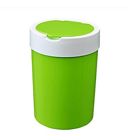 LIYONGDONG® Poubelles cuisine salon cuisinière poubelle ménage rond barils plastique grande poubelle liquides 23 * 32cm green