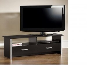 black-tv-cabinet-entertainment-unit-with-chrome-trim-2-drawers