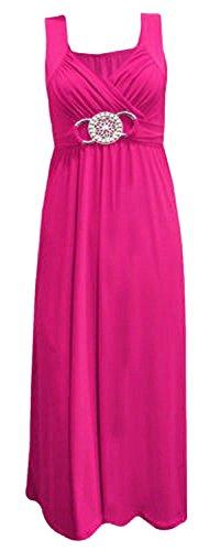 Frauen plus size Schnalle Taille binden zurück Abend lange Maxi-Kleid (Maxi-kleid Plus)