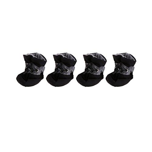 Pennyninis 1 Set (4 Piezas) Zapatos de Perro Impermeable Lluvia Nieve Botas Impermeable Goma Antideslizante Zapatos para Perro pequeño Cachorro (Negro)