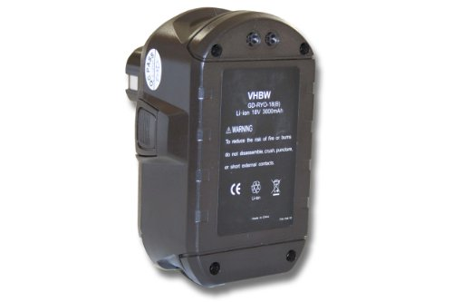 vhbw Li-Ion Akku 3000mAh (18V) für Werkzeuge Ryobi CCC-180L, CCD-1801, CCG-1801M, CCG-180L, CCS-1801, DM, CCS-1801, LM.