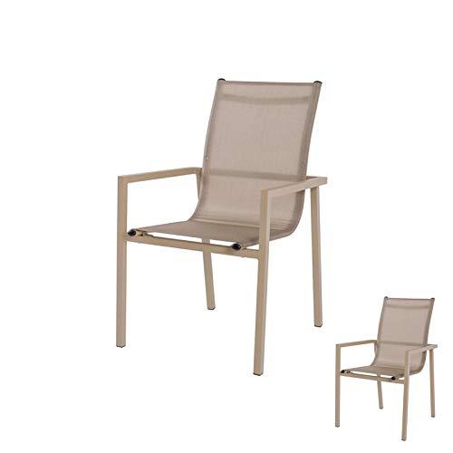 Tousmesmeubles Duo de Chaises Aluminium/Textilène Champagne - Borneo - L 57 x l 57 x H 93 - Neuf
