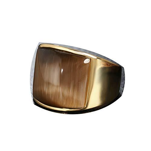 Lafeil Gothic Ring Gold Edelstahlring In Ring Retro Opal Gold Gr. 60 (19.1) 20mm Breit 17G Kaffee Gothicring (Vampir Kostüm College)