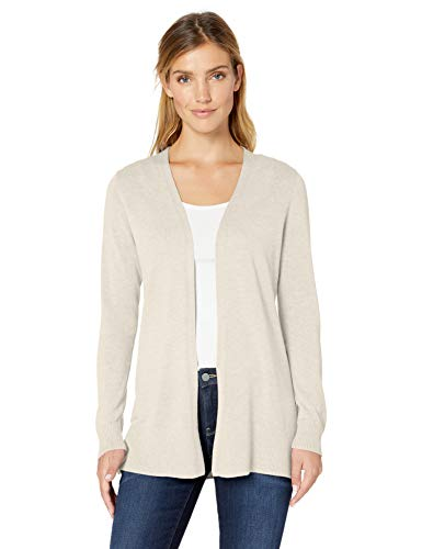 Amazon Essentials Open-Front Cardigan, Chaqueta Punto para Mujer, Beige (Oatmeal Heather Oat), Small