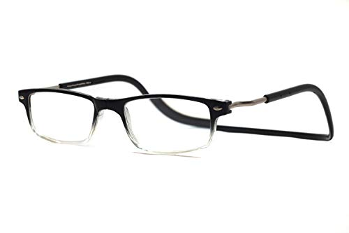 Gafas de lectura magnéticas ajustables con correa para el cuello para hombres y mujeres, gradiente negro y gris