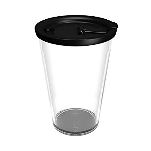 Ornamin Coffee to go Becher 400 ml glasklar, auslaufsicherer Deckel schwarz (Modell 1210 + 1214) / Kaffeebecher, nachhaltiger Mehrweg-Becher Kunststoff