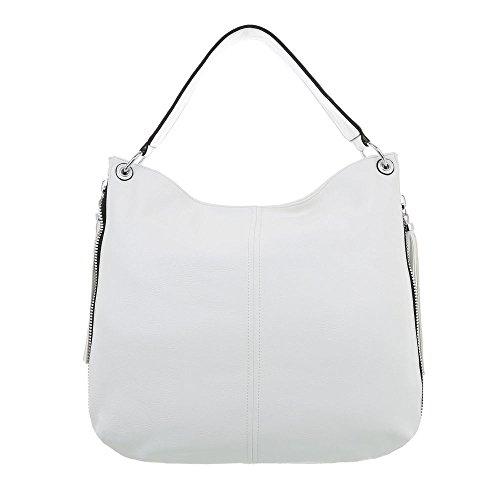 Ital-Design Damen-Tasche Große Schultertasche Handtasche Kunstleder Weiß TA-6635-69 (Tasche Kunstleder)