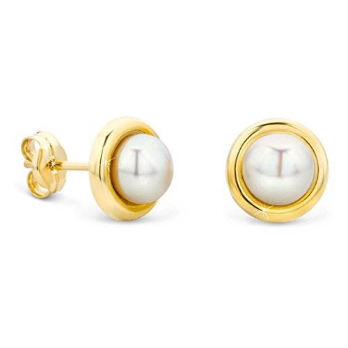 Diamond Rose Engagement Ring Gold (Orovi Damen Ohrringe Perlen Set Ohrstecker 9 Karat Gold Gelbgold (375) Schmuck)