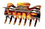 Parcelona French Classic Medium 3.5 Inch Covered Spring Celluloid Shell Jaw Hair Claw Clip (Brown/shell)