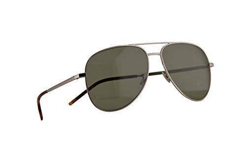 Saint Laurent Classic 11 Folk Sonnenbrille Silber Mit Grünen Gläsern 59mm 002 Classic11 Classic-11-Folk