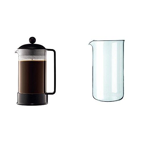 Bodum 1548-01 Brazil Cafetière à Piston 8 Tasses 1 L Noir + Verre de rechange