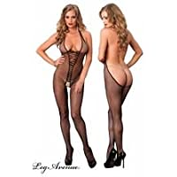 8d6f3a3da9f Leg Avenue 89154 One Size 6 to 12 Black Bare Bottom Backless Fishnet Halter  Bodystocking with