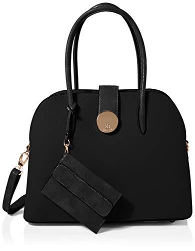 Bessie London Damen Large Shell Shape Bag With Card Holder Tote, Schwarz (Black), 17x29x38 Centimeters