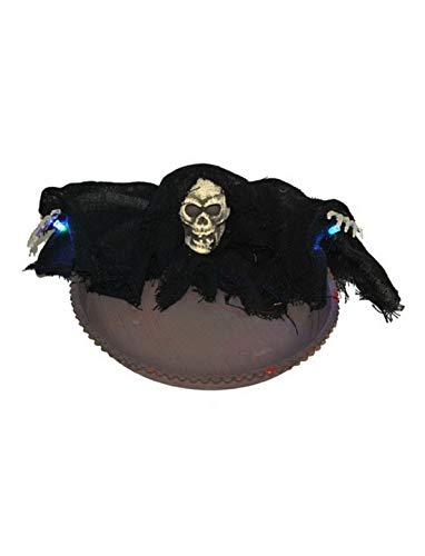 erdbeerparty - Halloween Dekoration Deko Süßigkeiten Schüssel mit Horror Skelett Totenkopf und Licht Funktion, 22cm, Candy Bowl with Light, ideal für Jede Halloween Party / Feier, Schwarz