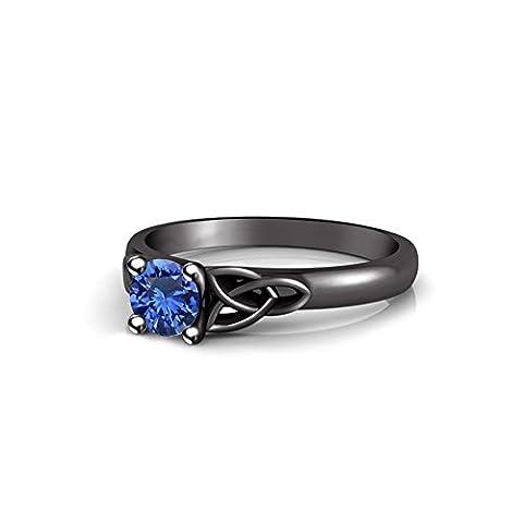 Vorra Fashion Luxuriöse Rund Cut Blau Saphir schwarz rhodiniert 925Silber solitaire Damen Ring