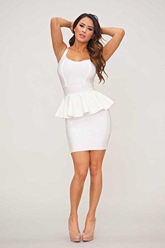 HLBandage Women Peplum Spaghetti Strap Mini Bandage Dress Blanc