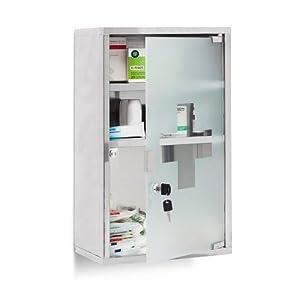 Relaxdays EMERGENCY Medizinschrank XL extra tief aus Edelstahl HxBxT: ca. 50,5 x 30 x 18 cm mit 3 Fächern und Glas-Tür zum Abschließen mit 2 Schlüsseln für kindersichere Medikamenten-Lagerung, silber