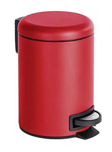 tik Treteimer Leman, Fassungsvermögen 3 L, Stahl, rot, 22,5 x 17 x 25 cm (Rot Mülleimer)