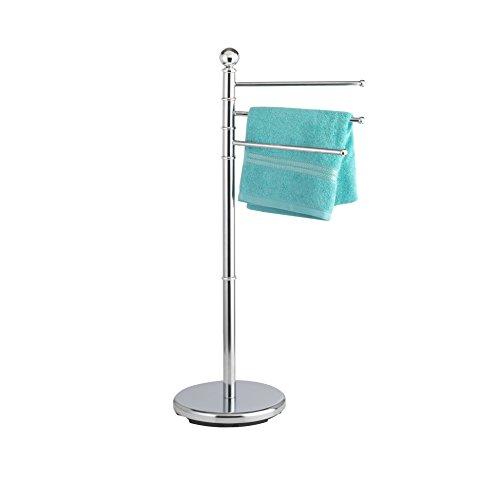 axentia Handtüchständer 3 Arme silber, verchromter Handtuchhalter, freistehender Badehandtuchhalter, standfester Badehandtuchständer mit 360° schwenkbaren Stangen