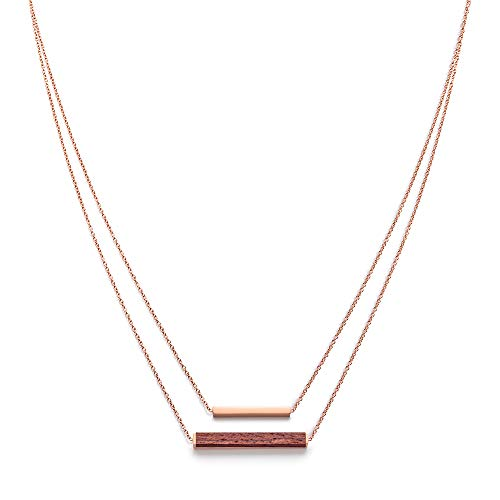 Kerbholz Damen Holzschmuck - Geometrics Kollektion Rechteck Halskette mit Anhänger aus Naturholz, roségold,  größenverstellbar (Kettelänge 38 + 5 cm)