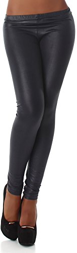 Jela London Damen Leggings Leggins Hose Lang Tapered Matt Glänzend Leder-Optik Wet-Look 34,36,38 Anthrazit