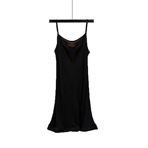 Seide Nachtkleid (Hoffen 100% Seide Damen Unterkleid Mini Nachtkleid verstellbare Träger Soft Full Slip (Schwarz, M))