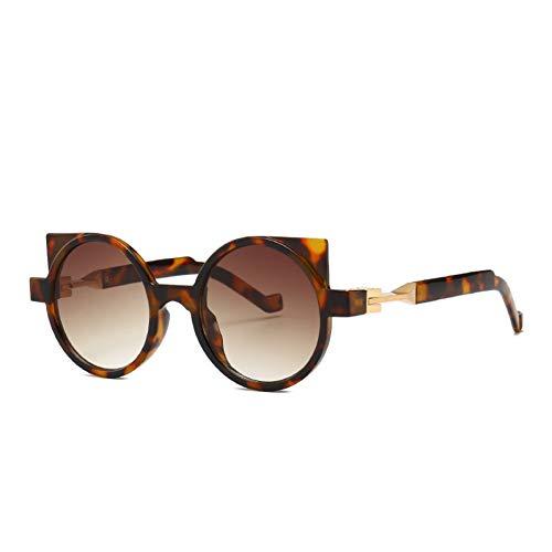 Taiyangcheng Polarisierte Sonnenbrille Modemarkendesigner Cat Eye Sonnenbrille Frauen Retro Steampunk Runde Linse Gradient Sonnenbrille Vintage Übergroße Weibliche Uv400,Leoparden-Doppeltee