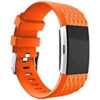TOPsic Fitbit Charge 2 Strap Bands, Soft Silicone Adjustable Fashion Replacement Sport Straps Accessory Wristband for Fitbit Charge 2 Heart Rate Large(No Tracker)