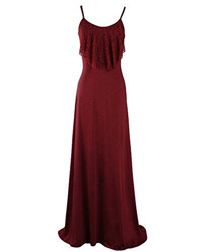 Damen Kleid ärmelloses Rückenfrei Brautjungfer Cocktailkleid Maxi Abendkleid Burgunderrot