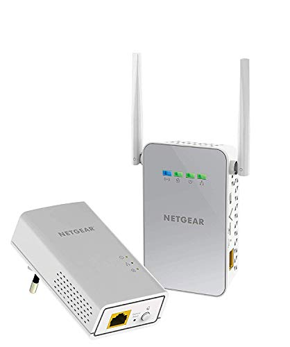 Netgear PLW1000-100PES Adattatori Powerline AV1000, Wireless AC Dual Band, 2 Porte Gigabit Totali, 2 Pezzi, Bianco