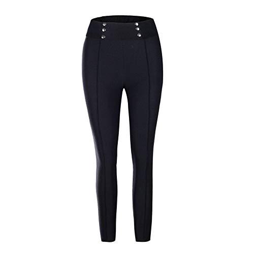 RUIMENGMENG Womens High Waisted Belted Paper Bag Hosen Hosen Elastische Slim Fit Taschen Tapered Work Casual Schwarz XL -