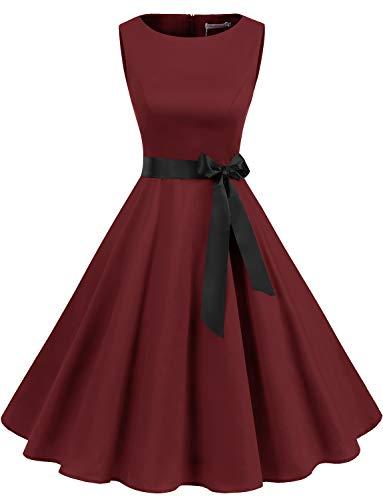 Gardenwed Damen 1950er Vintage Cocktailkleid Rockabilly Retro Schwingen Kleid Faltenrock Burgundy 3XL (Ausgefallene Kleider Für Kleine Mädchen)