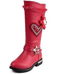 Niñas Botas de Encaje de Cristal Elegantes Antideslizantes Zapatos de Cuero  de PU Botas largas Princesa ac3083623a35d