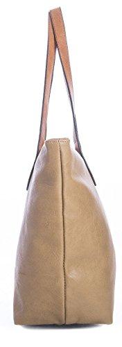 BHBS Damen Promi Einfache weiche und leichte Schulter Handtasche 38 x 28 cm (B x H) dunkelgrau