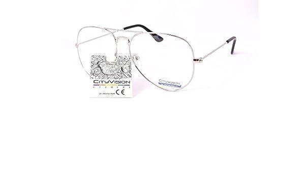lunettes de soleil aviateur verres clairs transparents 016305bc (monture argent verres transparents, 135mm hauteur:50mm)