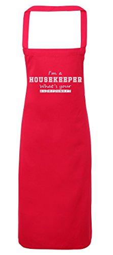 Haushälterin Schürze (hippowarehouse I 'm a Haushälterin What 's Your Supermacht? Schürze Küche Kochen Malerei DIY Einheitsgröße Erwachsene, fuchsia pink, Einheitsgröße)