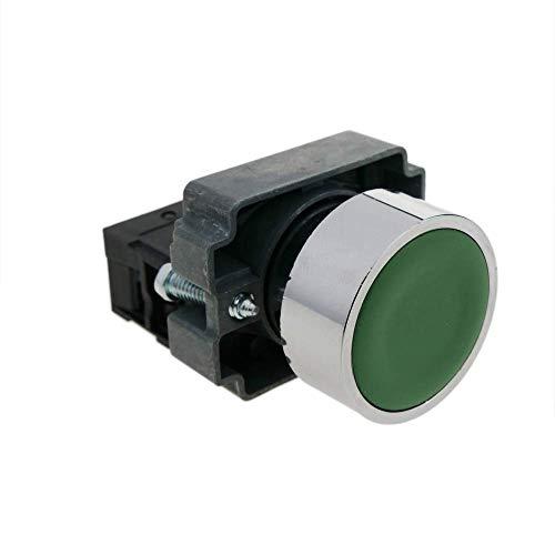 BeMatik - Pulsador momentáneo 22mm 1NO 400V 10A normal abierto verde