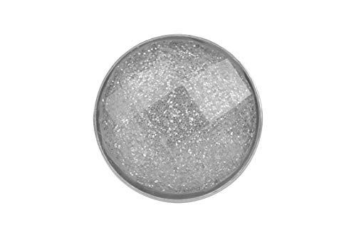 Magnetbrosche, Clip, Schmuckanhänger aus Edelstahl, 20mm, handgefertigt, grau mit Glitzer