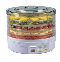 MORADIYA FRESH (LABEL) Plastic Countertop Portable Electric Food Fruit Dehydrator Machine with 5 Tray Adjustable Thermostat, 11x11x 7.5-Inch(White)