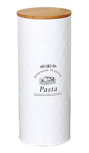 Spaghetti Vorratsdose COUNTRY PASTA H. 27cm D. 11cm Metall mit Bambus Kesper