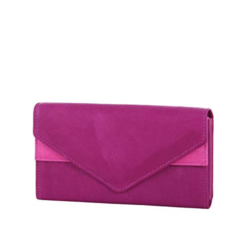 HJP Damen Geldbörse mit extra großen vielen Fächer | aus echtem Leder | Portemonnaie mit Überschlag in versch. Farben (Magenta) - Magenta Leder Geldbörse