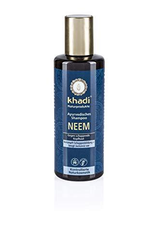 khadi Ayurvedisches Shampoo Neem 210ml I natürliches Haarshampoo gegen Schuppen und gereizte Kopfhaut I 100% pflanzlich -
