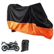 Funda Protector de Polyester Talla XL (245cm) Cubierta para Moto Naranja y Negro